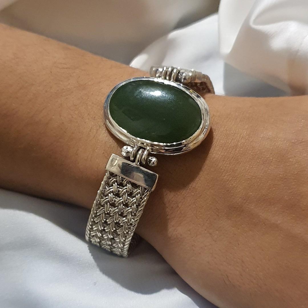 Made in New Zealand, silver greenstone bracelet image 2