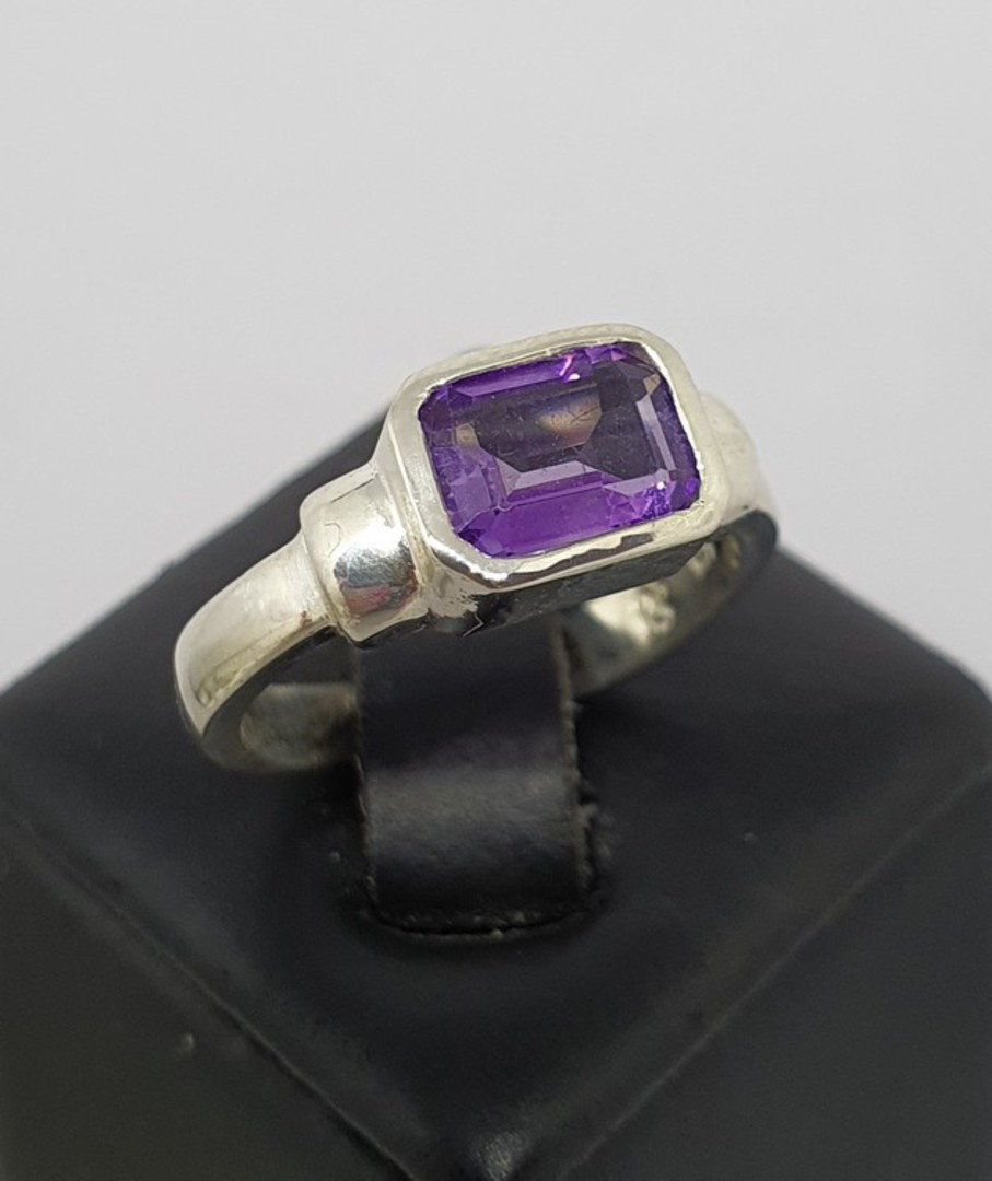 Silver ring with rectangle purple stone - made in NZ image 0