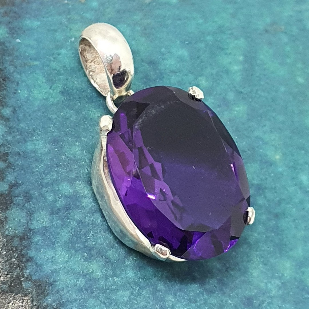 Made in NZ, large oval purple gemstone pendant image 2