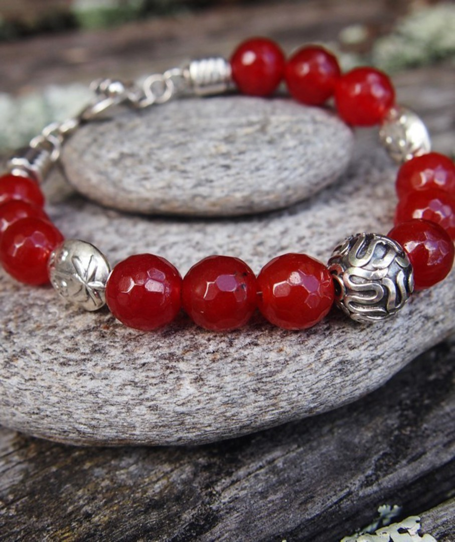Natural carnelian beads and silver bracelet image 3