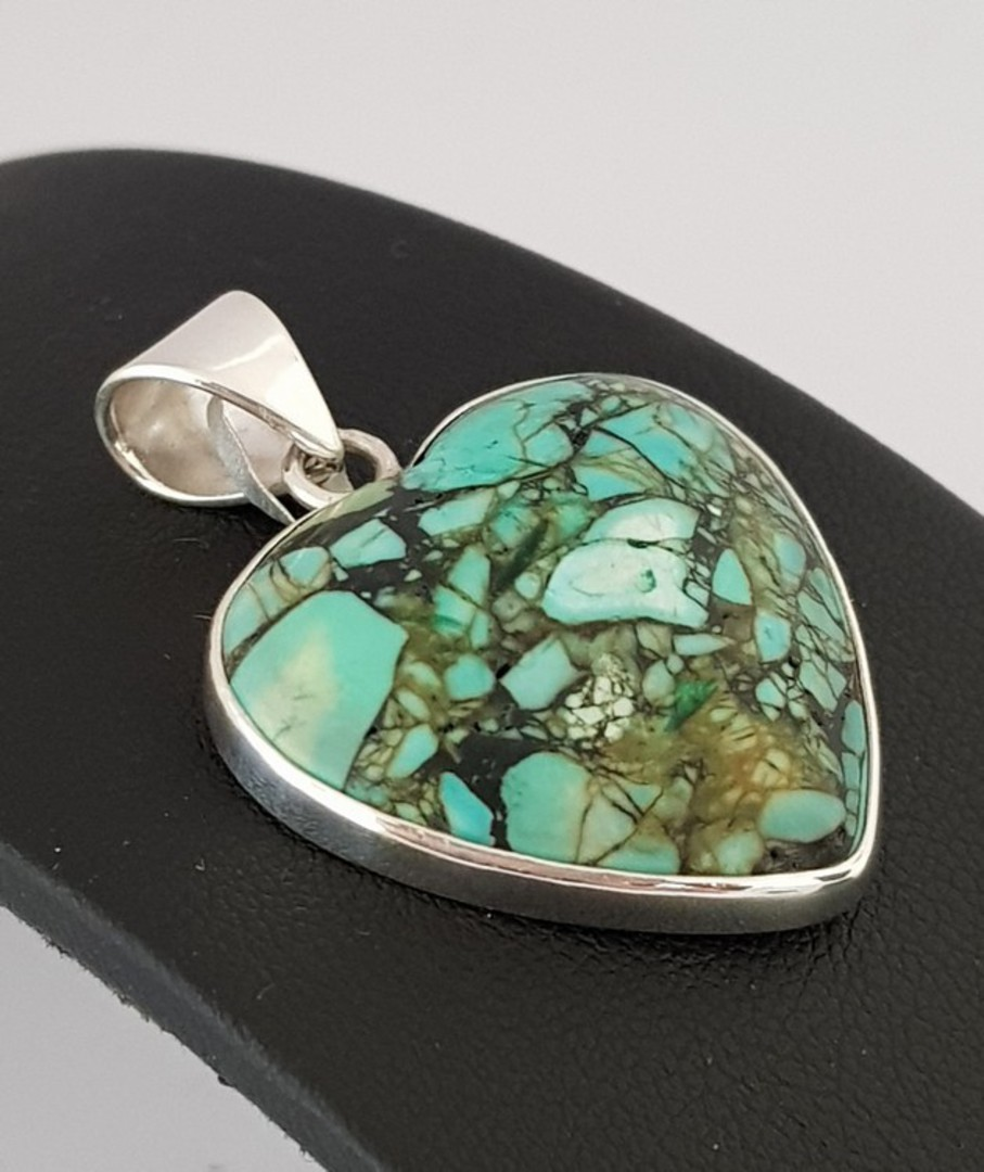Turquoise Silver Heart Pendant image 2