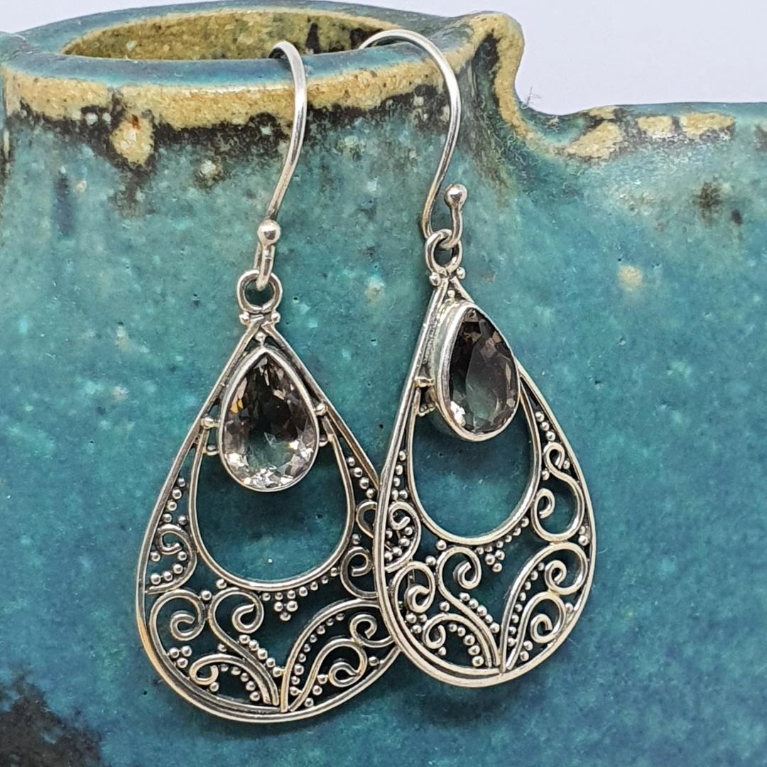 Romantic filigree silver smoky quartz earrings image 1