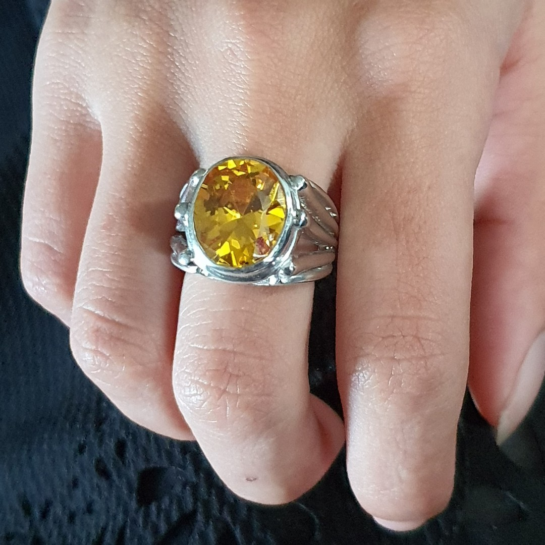 Chunky sterling silver designer ring with large yellow gemstone image 4