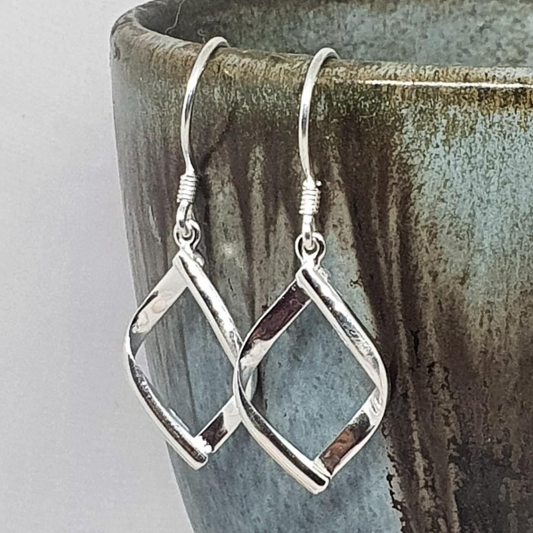 Sterling silver small hooked hoop earrings image 1
