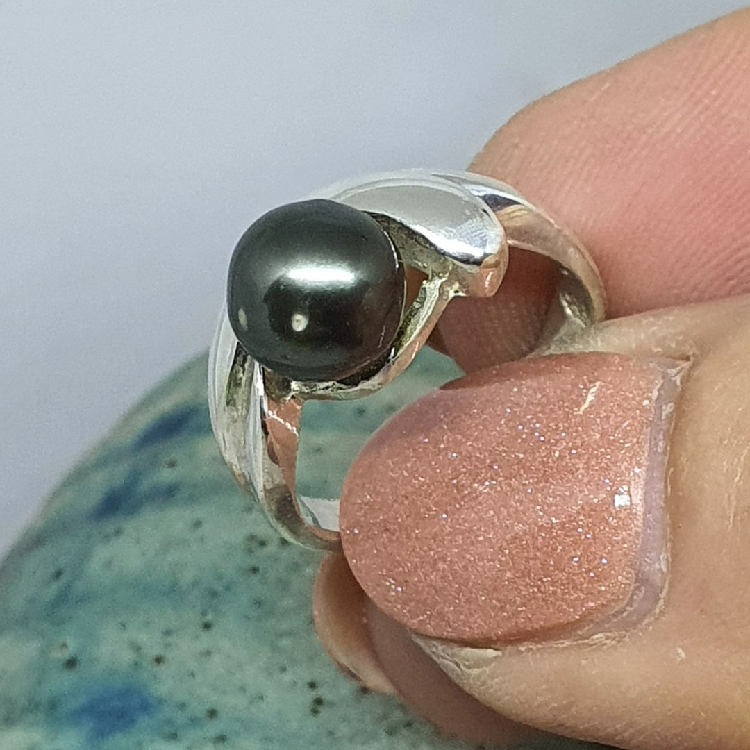 Sterling silver black pearl ring - made in NZ image 1