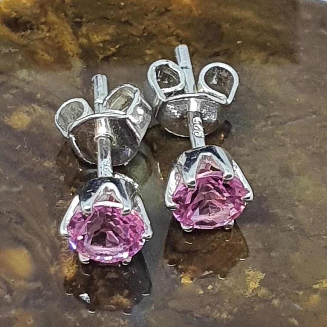 Sterling silver pink gemstone stud earrings image 1