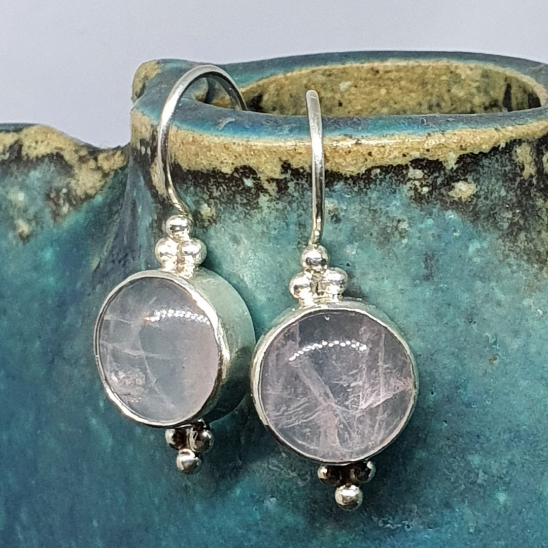 Sterling silver rose quartz hook earrings - one pair only image 1