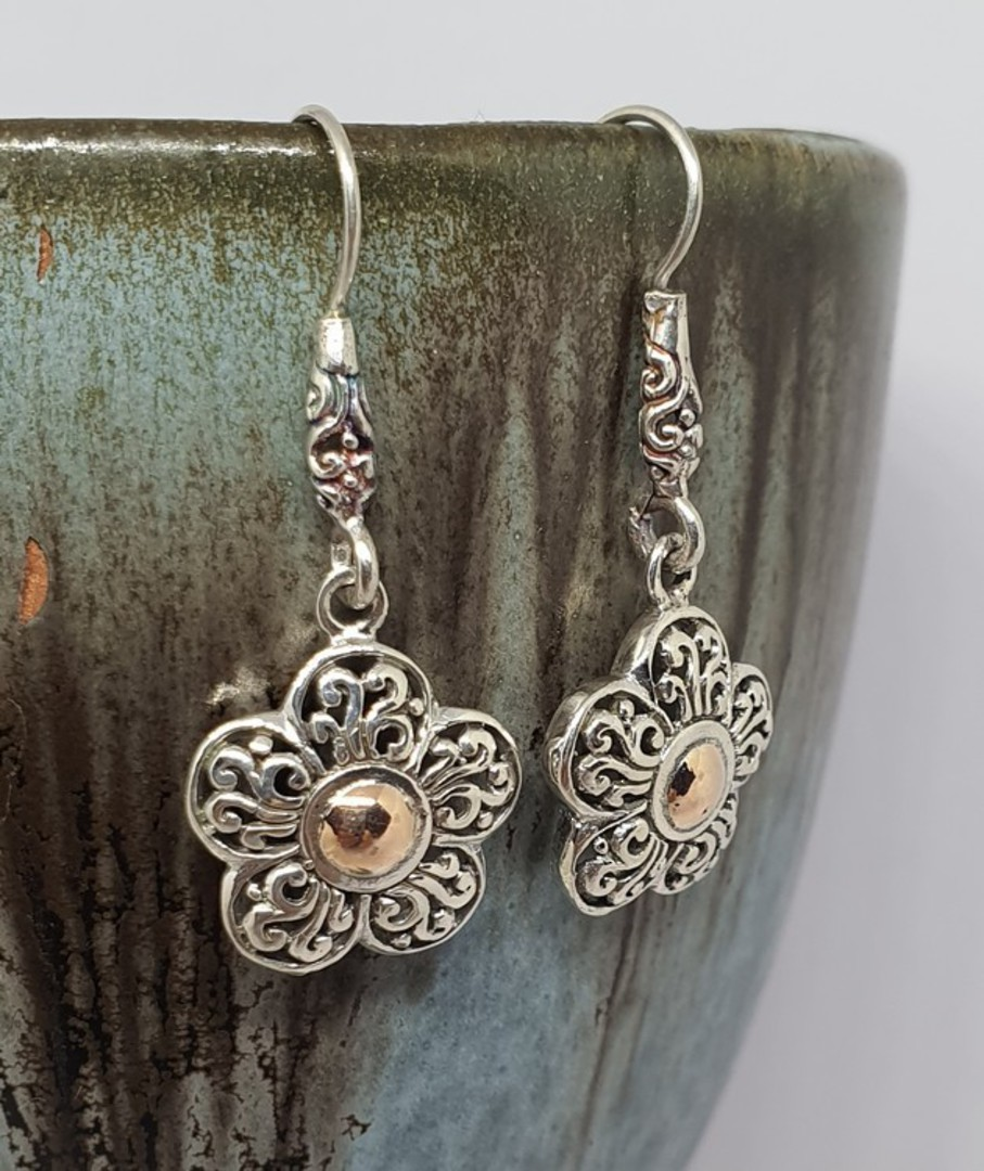 Sterling silver flower earrings image 0