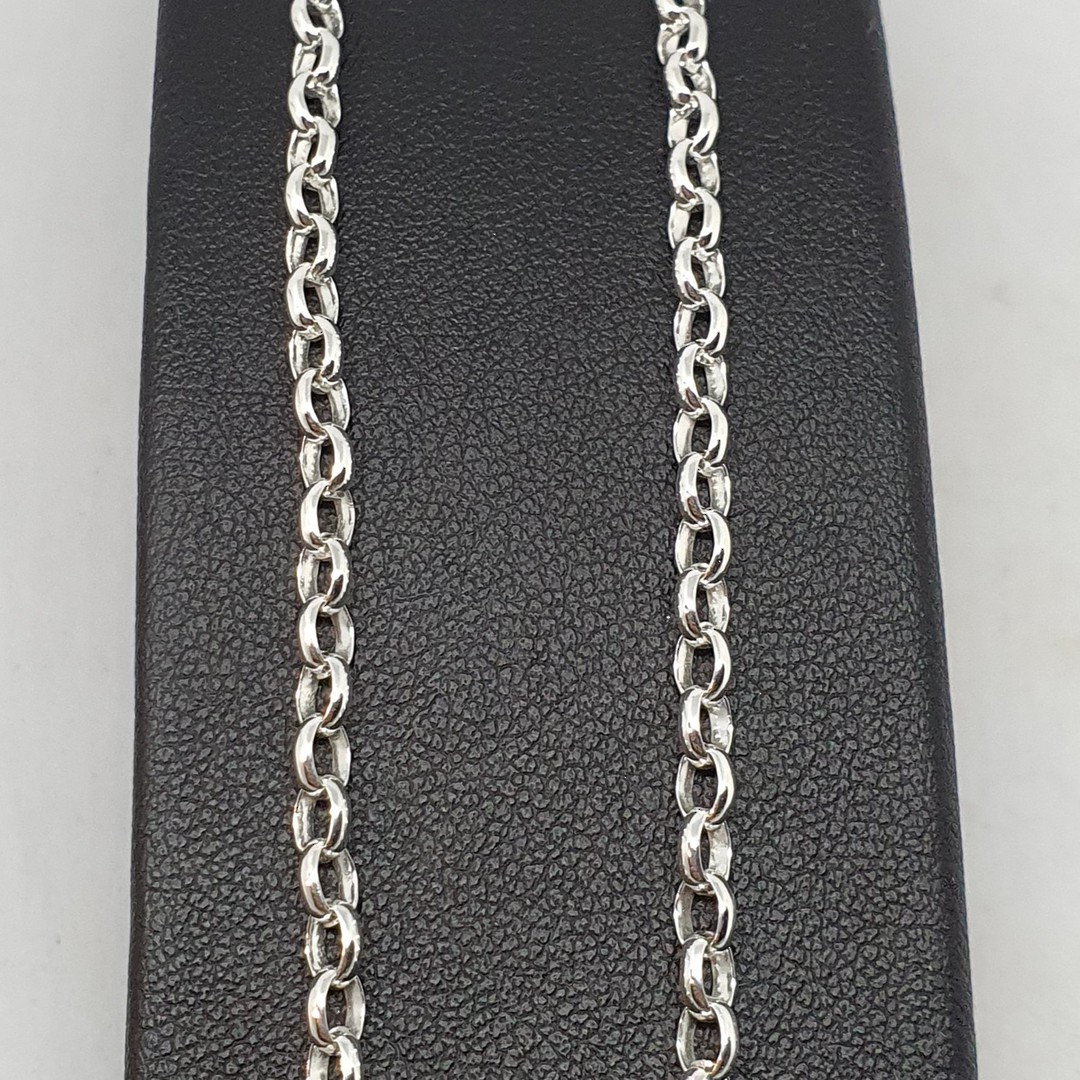 Sterling silver oval belcher chain, 60cms long image 1