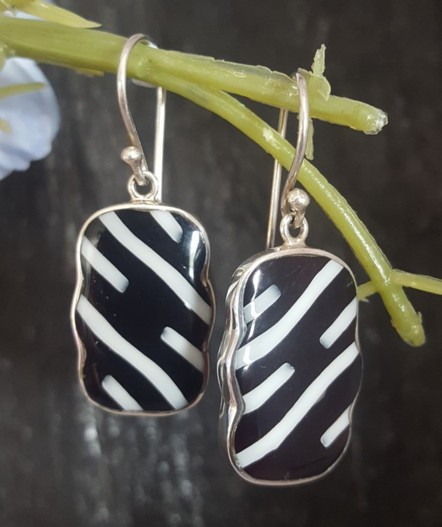 Black and white rectangle silver earrings image 2