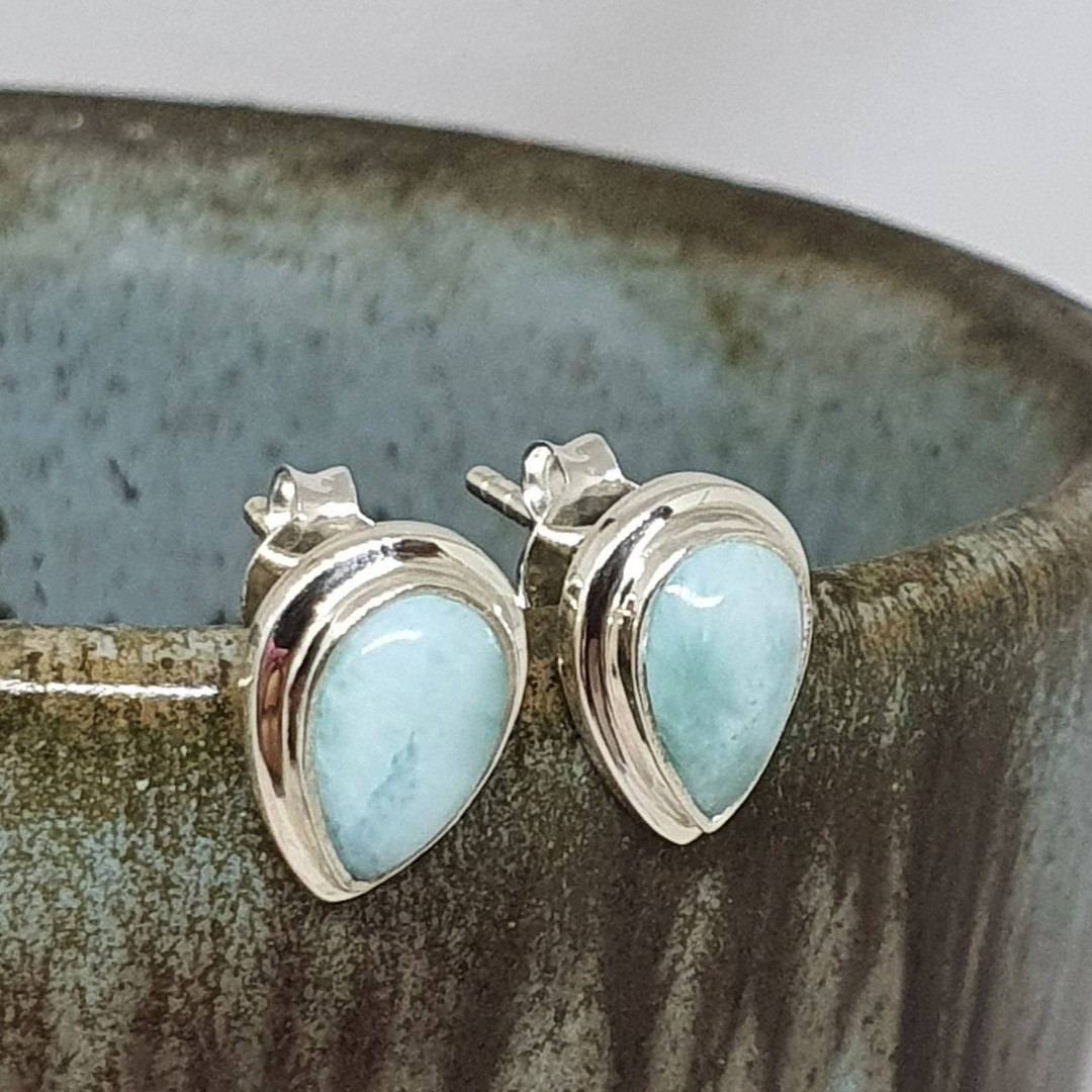 Teardrop larimar gemstone stud earrings image 4
