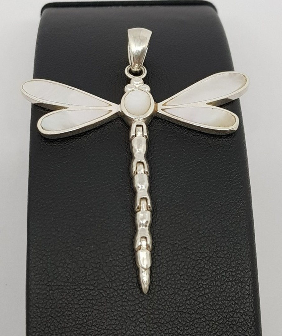 Mother of pearl silver dragonfly pendant image 0