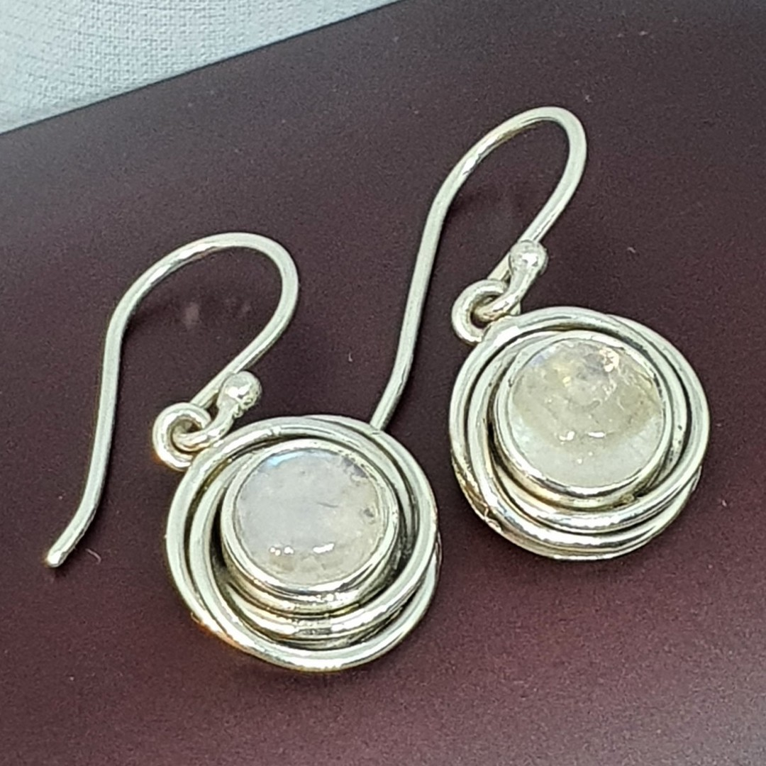 Circular silver moonstone earrings image 2