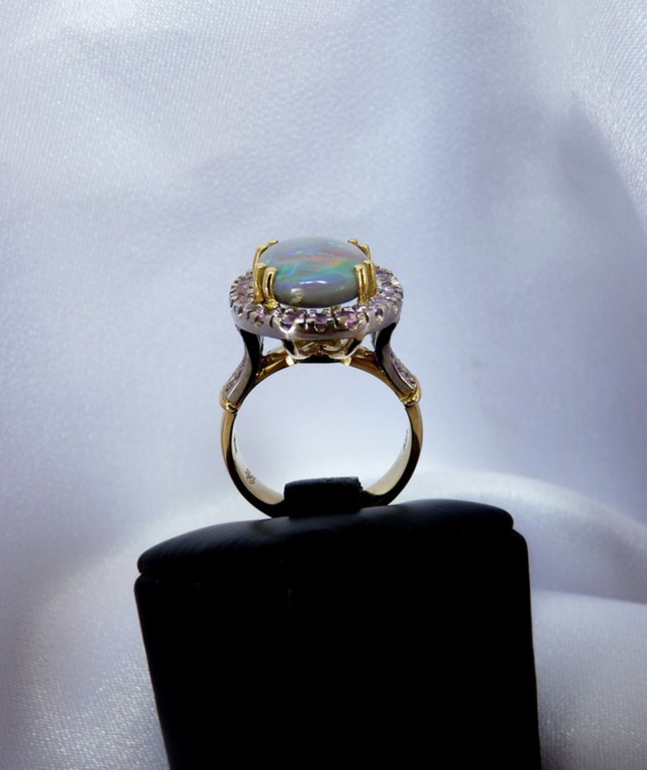 Opal and pink sapphire 18ct yellow gold dress ring image 1