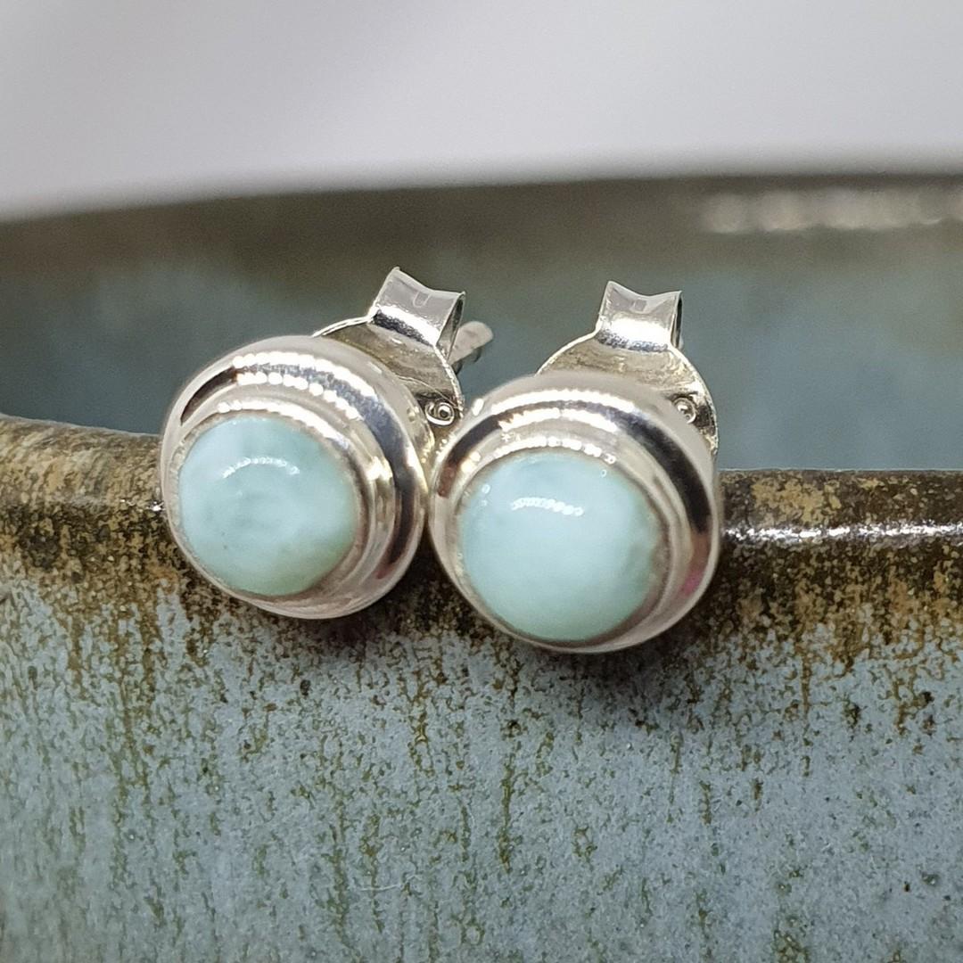 Tiny round larimar gemstone stud earrings image 1