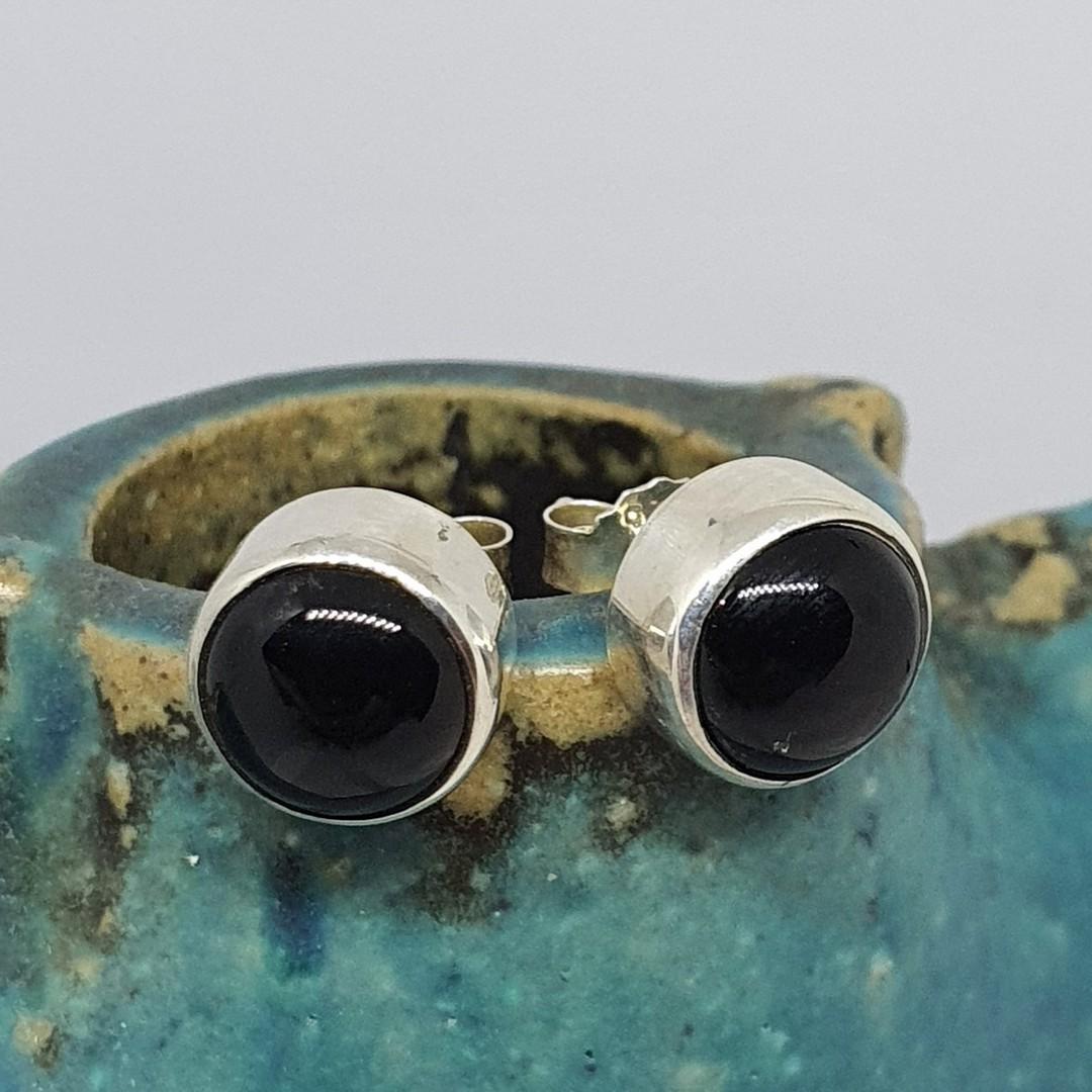 Sterling silver onyx stud earrings image 0