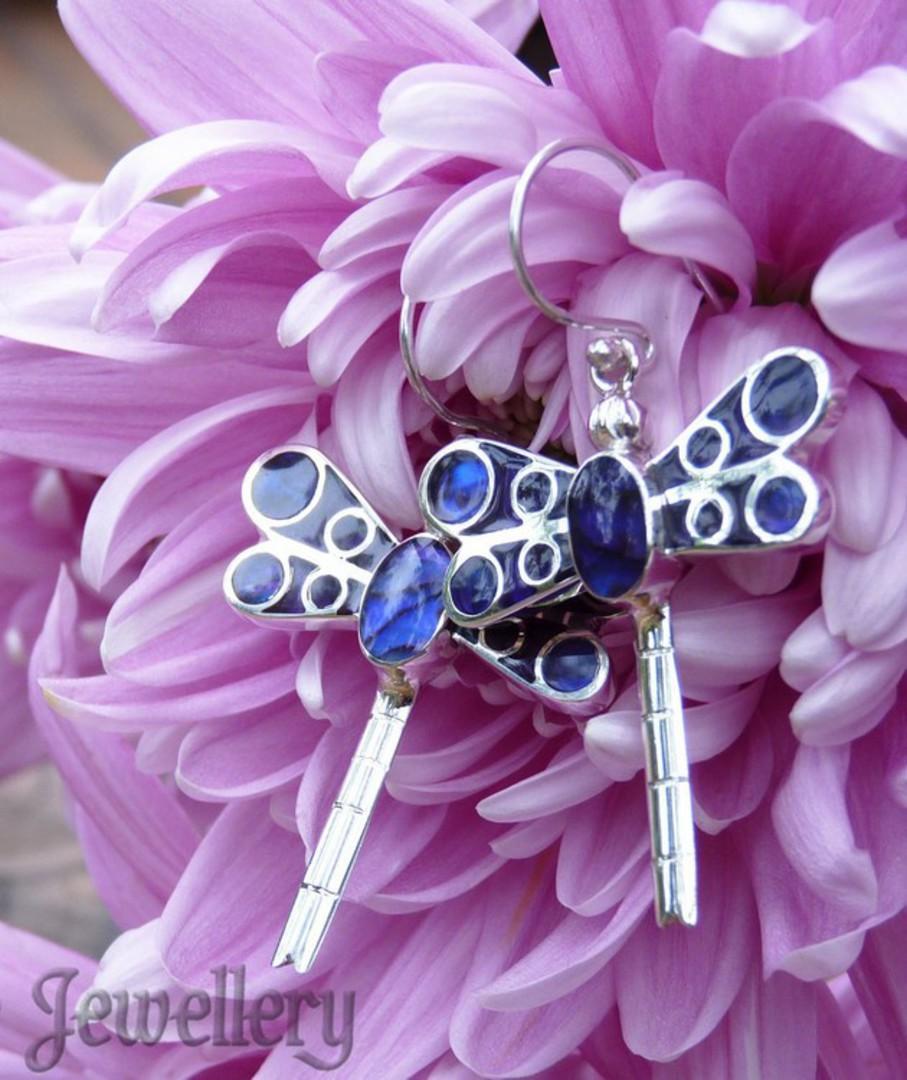 Purple dragonfly earrings image 2