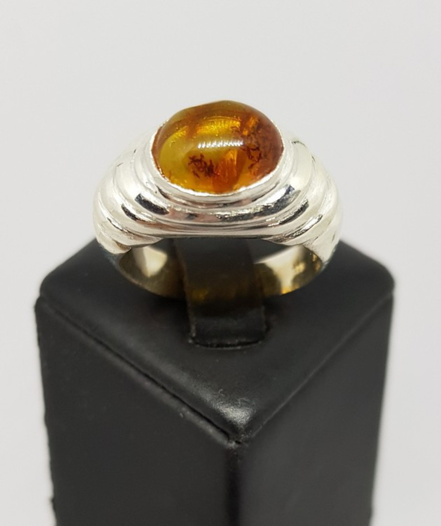 Sterling silver amber ring, NZ made image 0