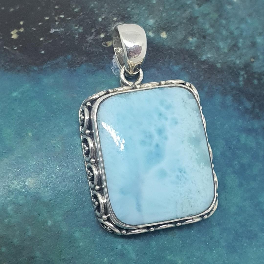 Sterling silver larimar gemstone pendant image 0