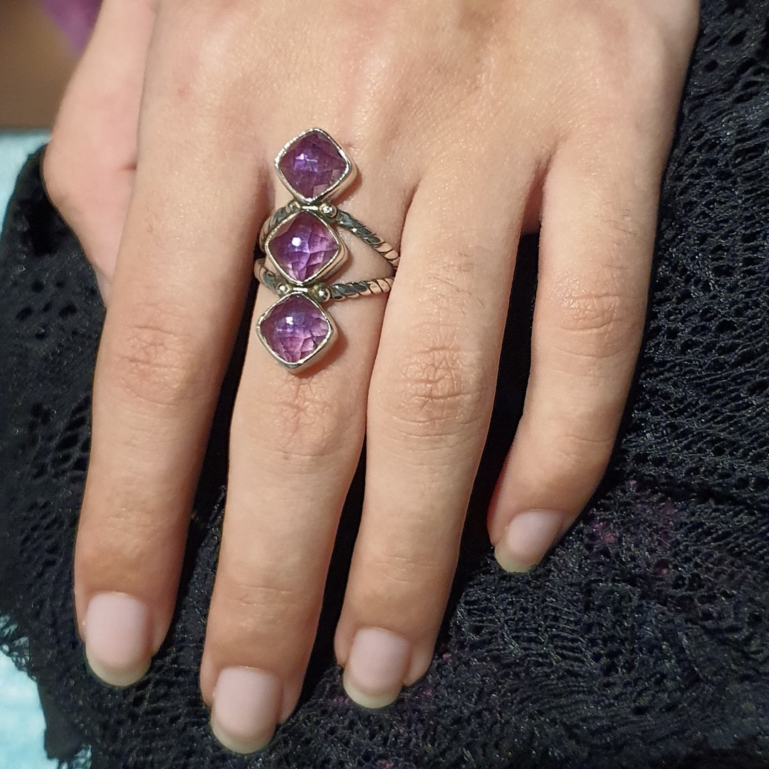 Sterling silver ring with three facet cut amethyst gems image 1