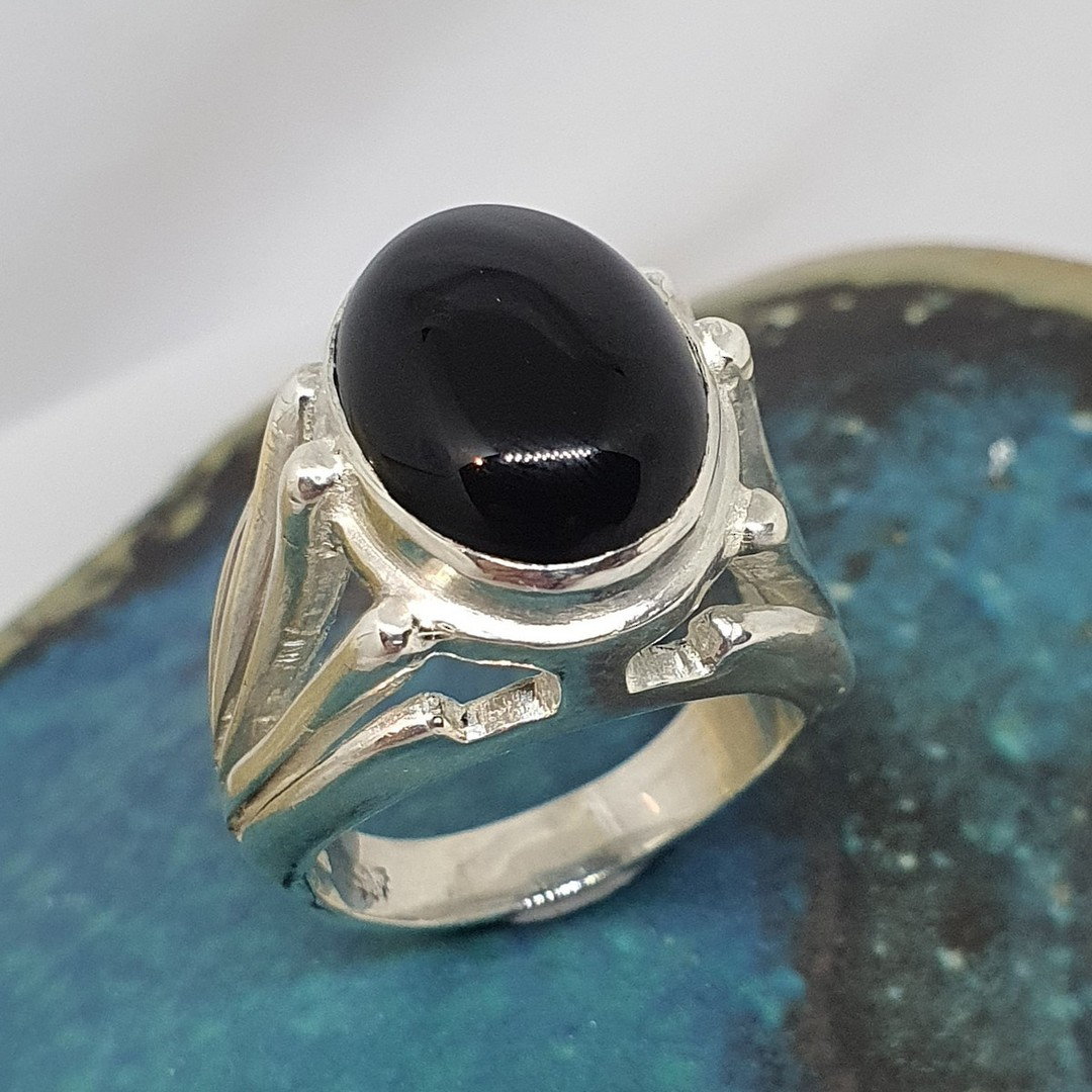 Made in New Zealand, sterling silver onyx gemstone ring image 0