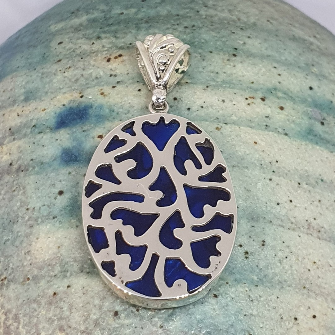 Sterling silver paua shell pendant - dyed blue image 0