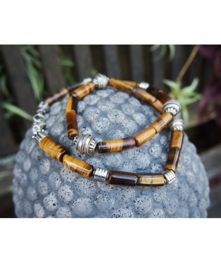 Tigers eye and silver beaded necklace image 3
