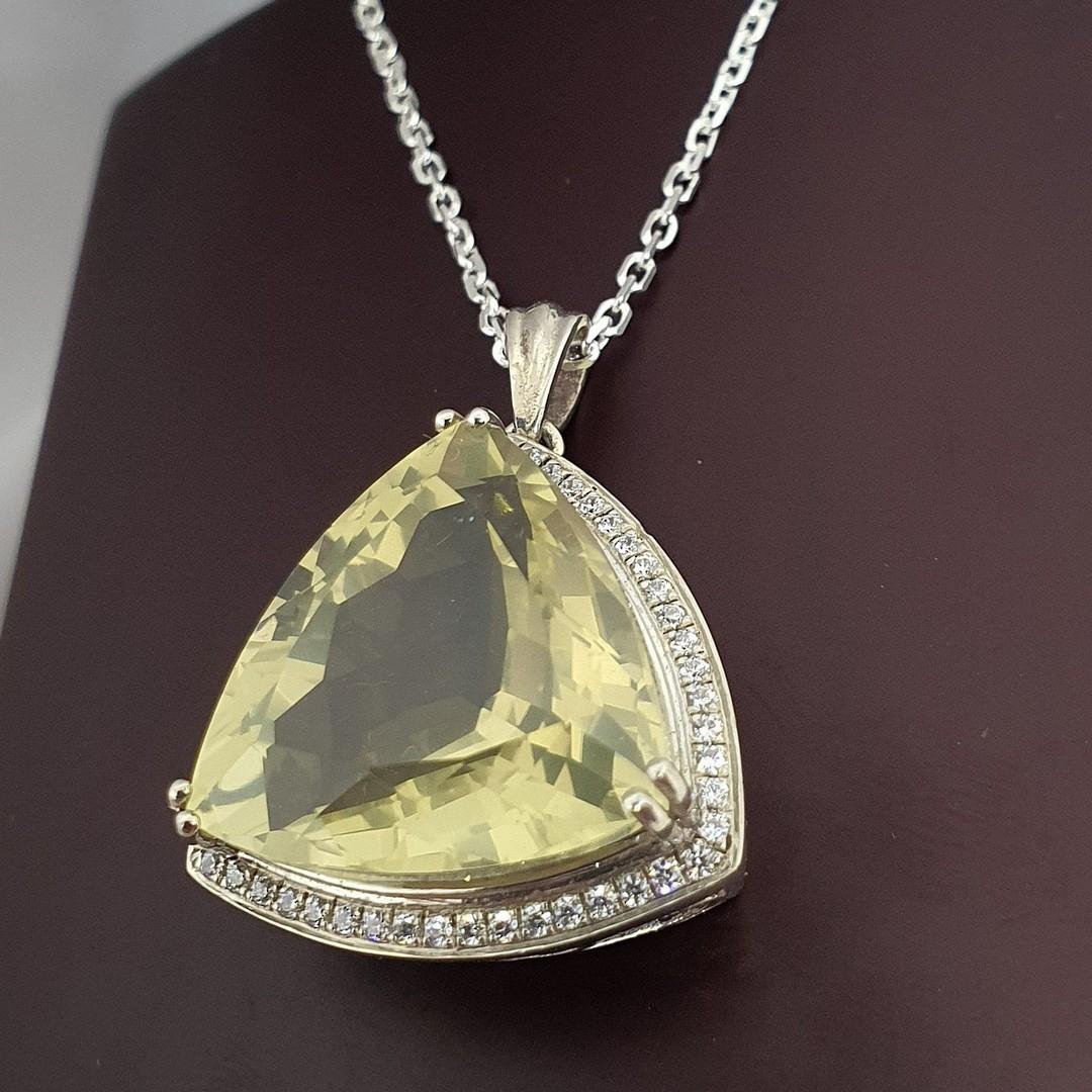 Large trillion lemon quartz and cz pendant image 4
