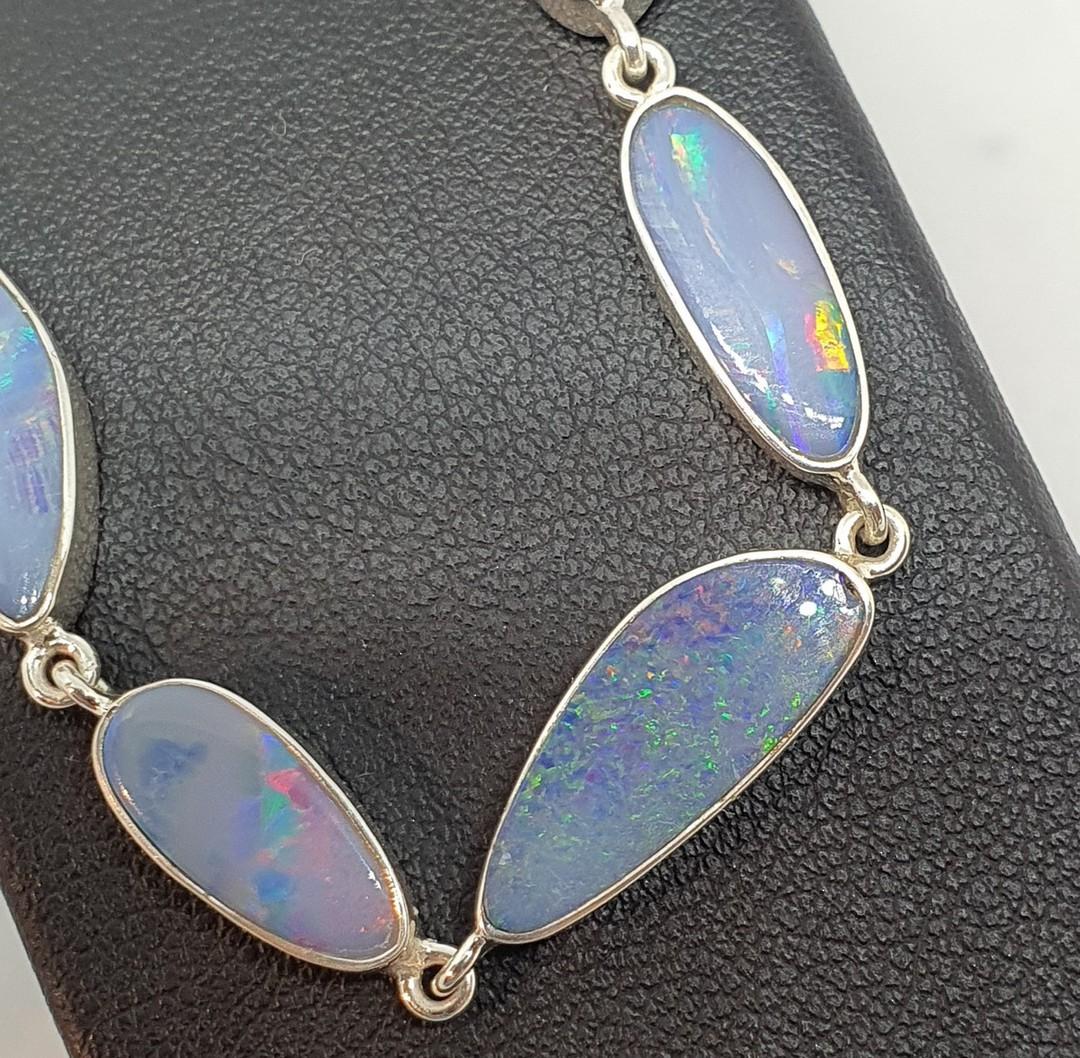 Delicate sterling silver opal bracelet image 1