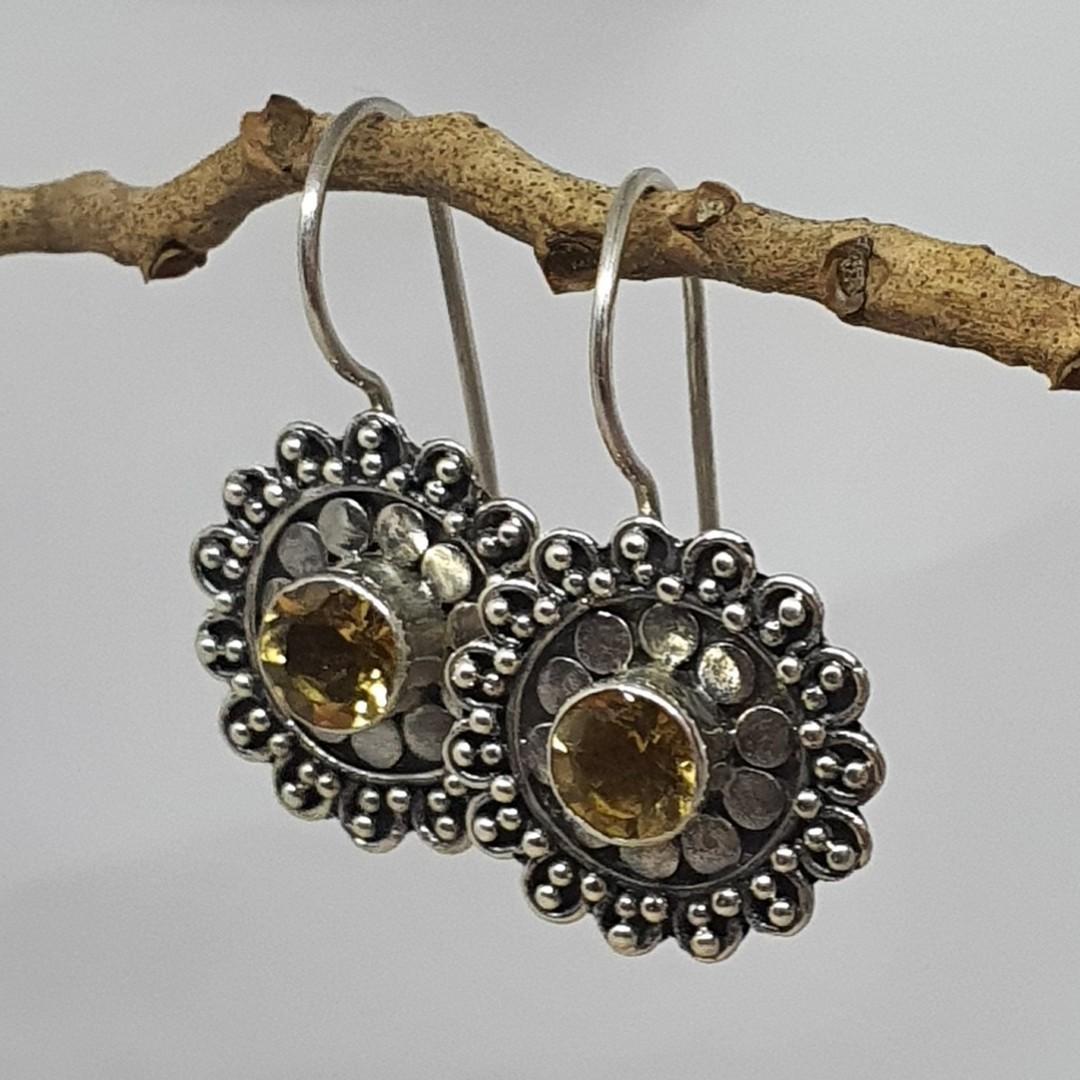 Silver citrine flower earrings image 1