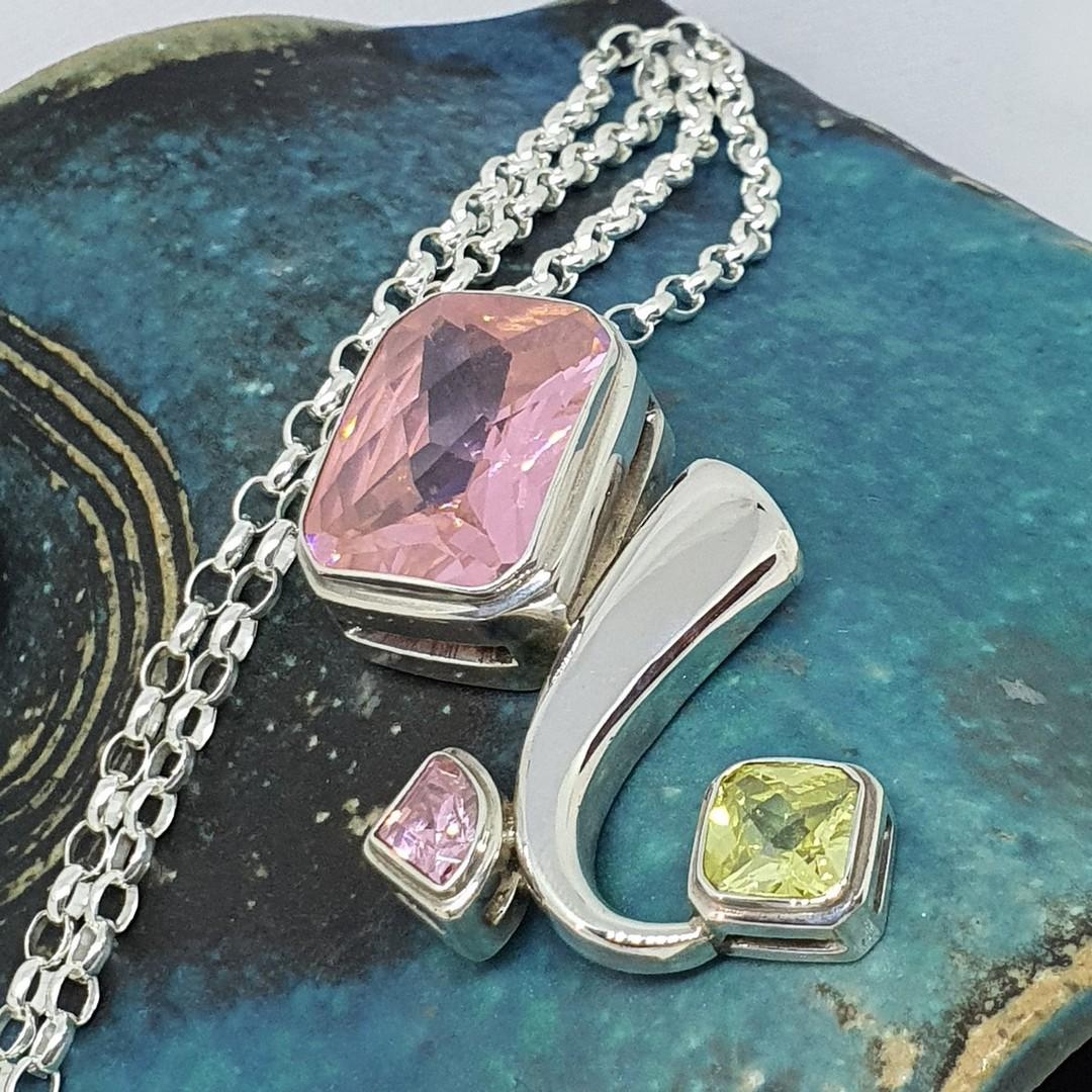Large sterling silver pink gemstone pendant image 3