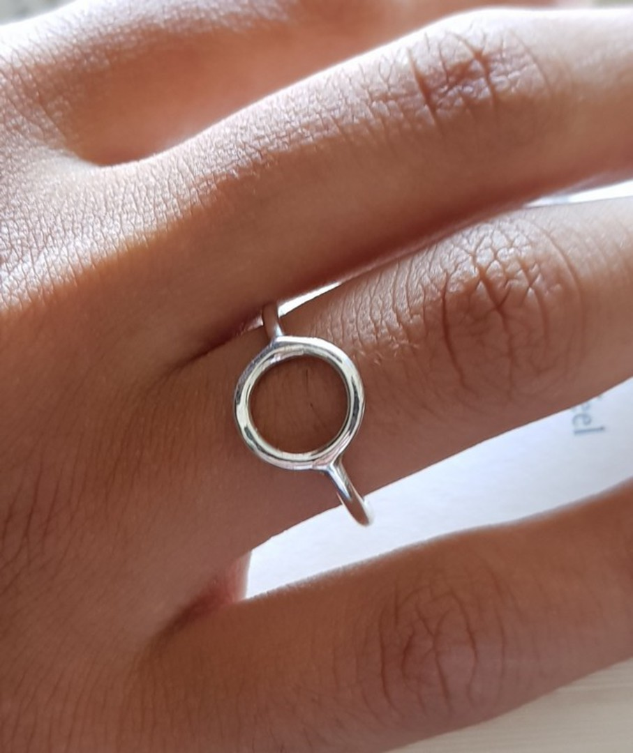 Sterling silver stacking ring with open circle image 1