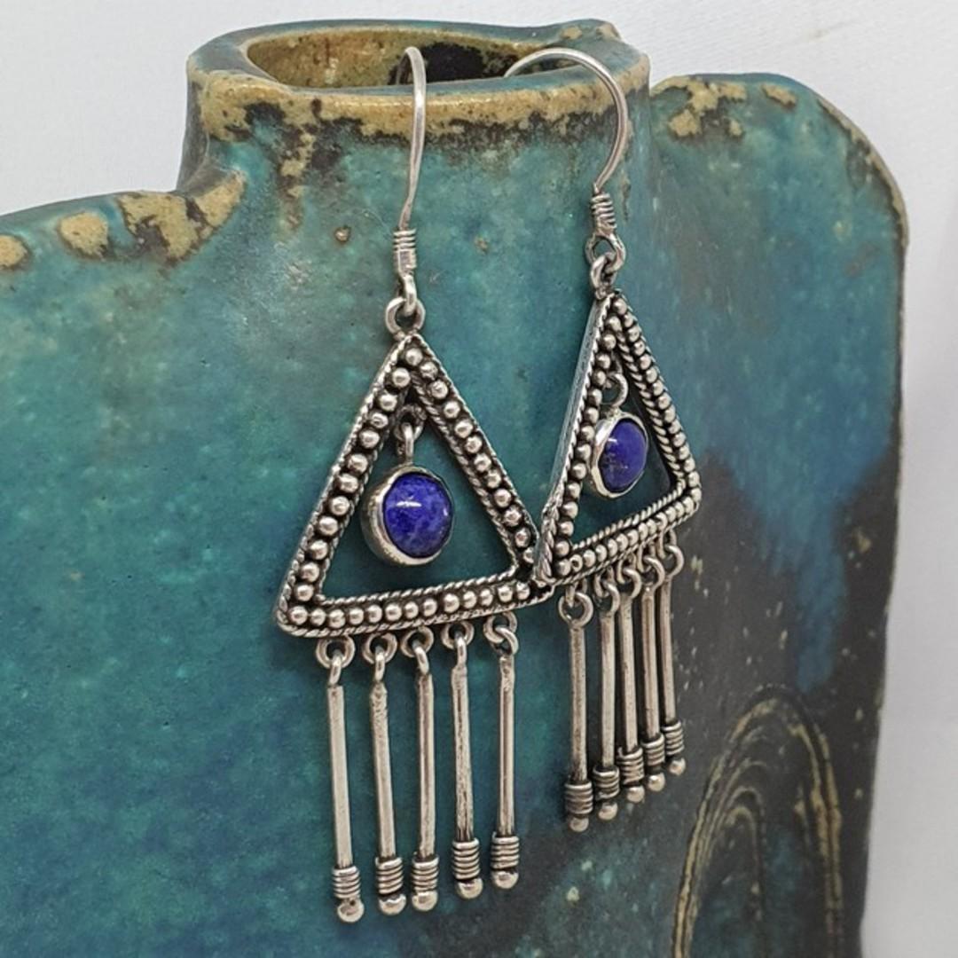 Sterling silver lapis lazuli hook earrings image 1