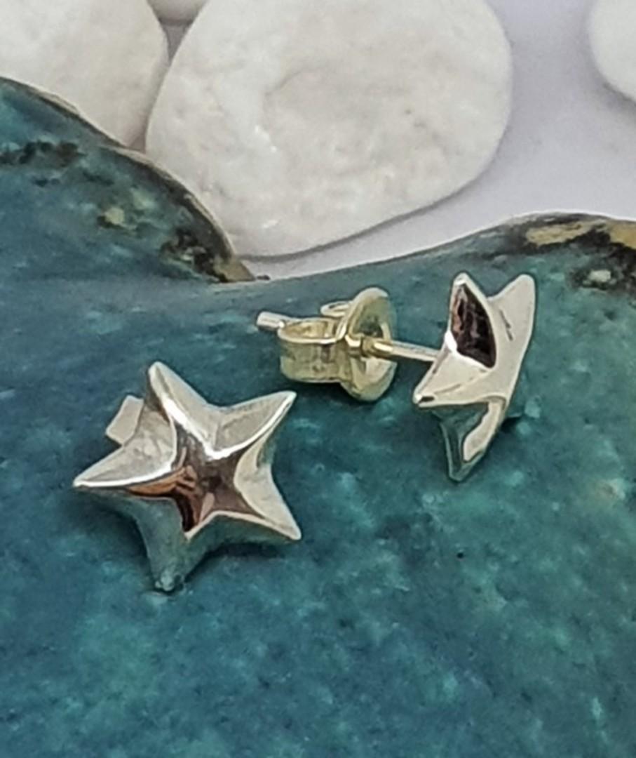 Sterling silver raised star stud earrings image 0