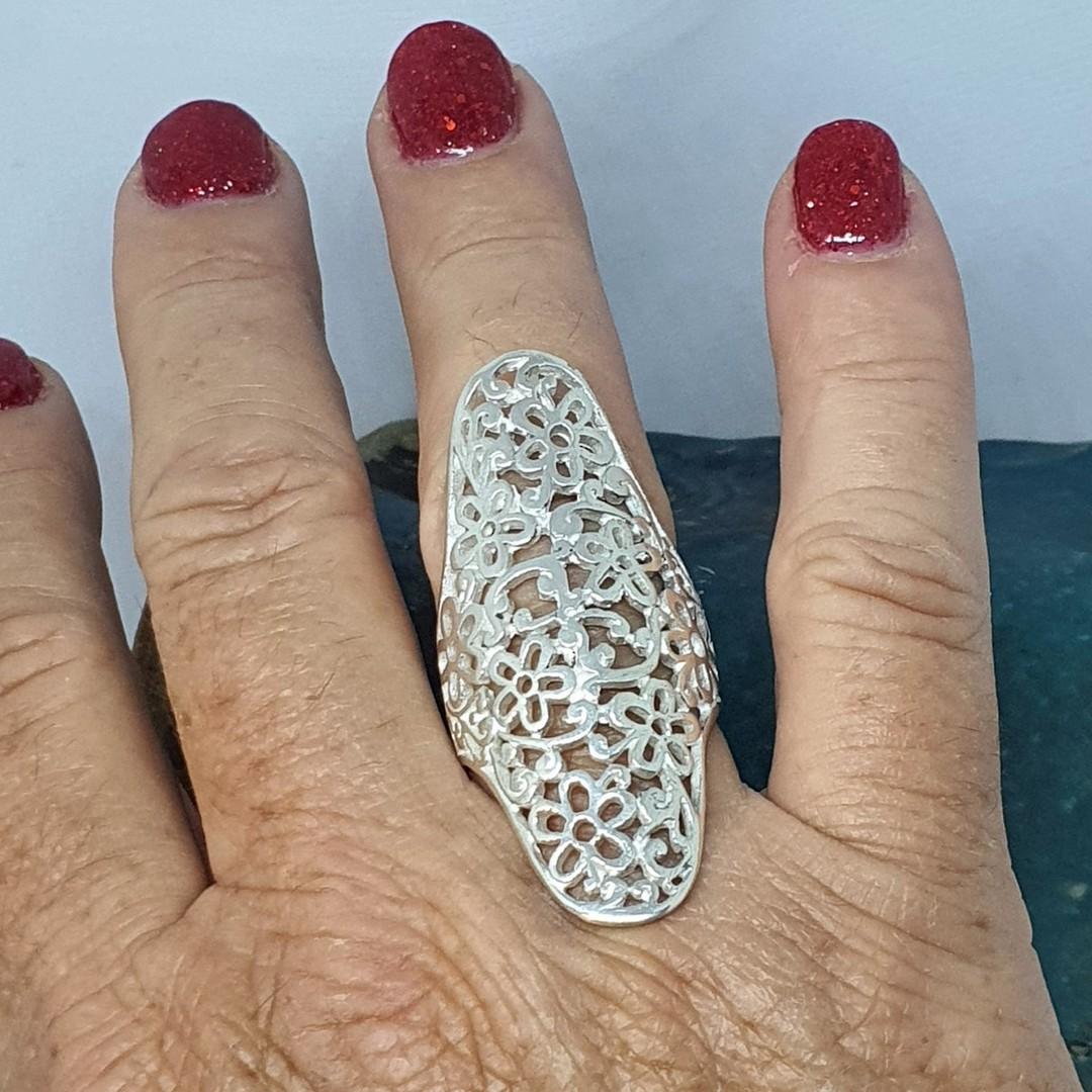 Long sterling silver filigree ring image 5