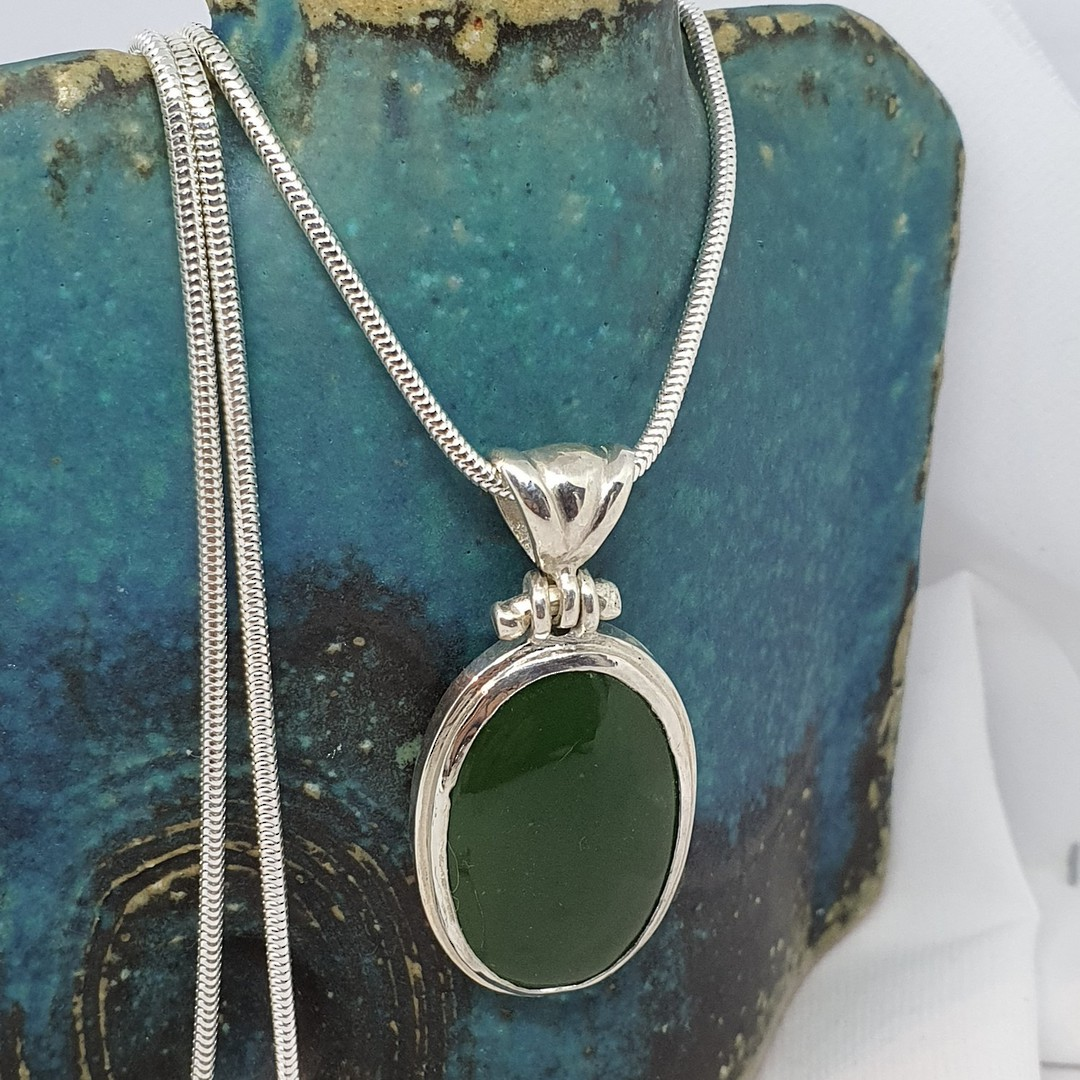 Made in NZ Silver Greenstone Pendant image 1