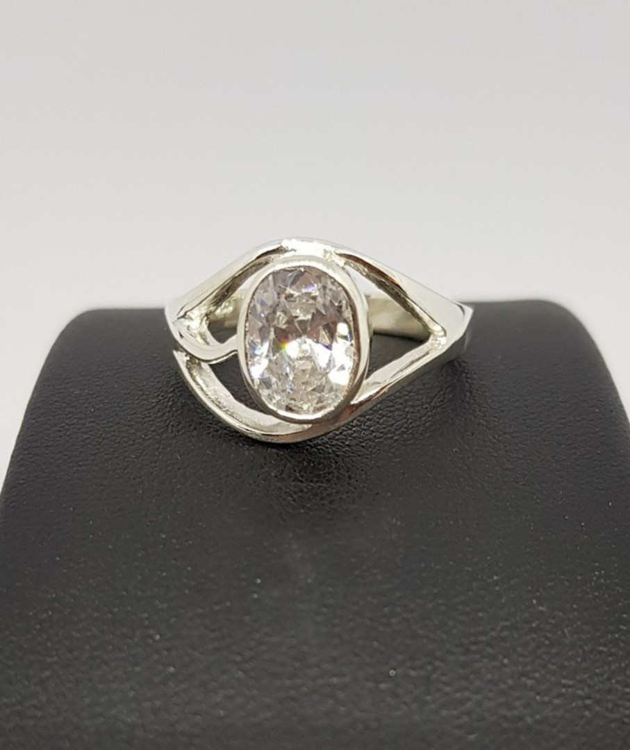 Cubic Zirconia Ring with Cutout Detailing image 2