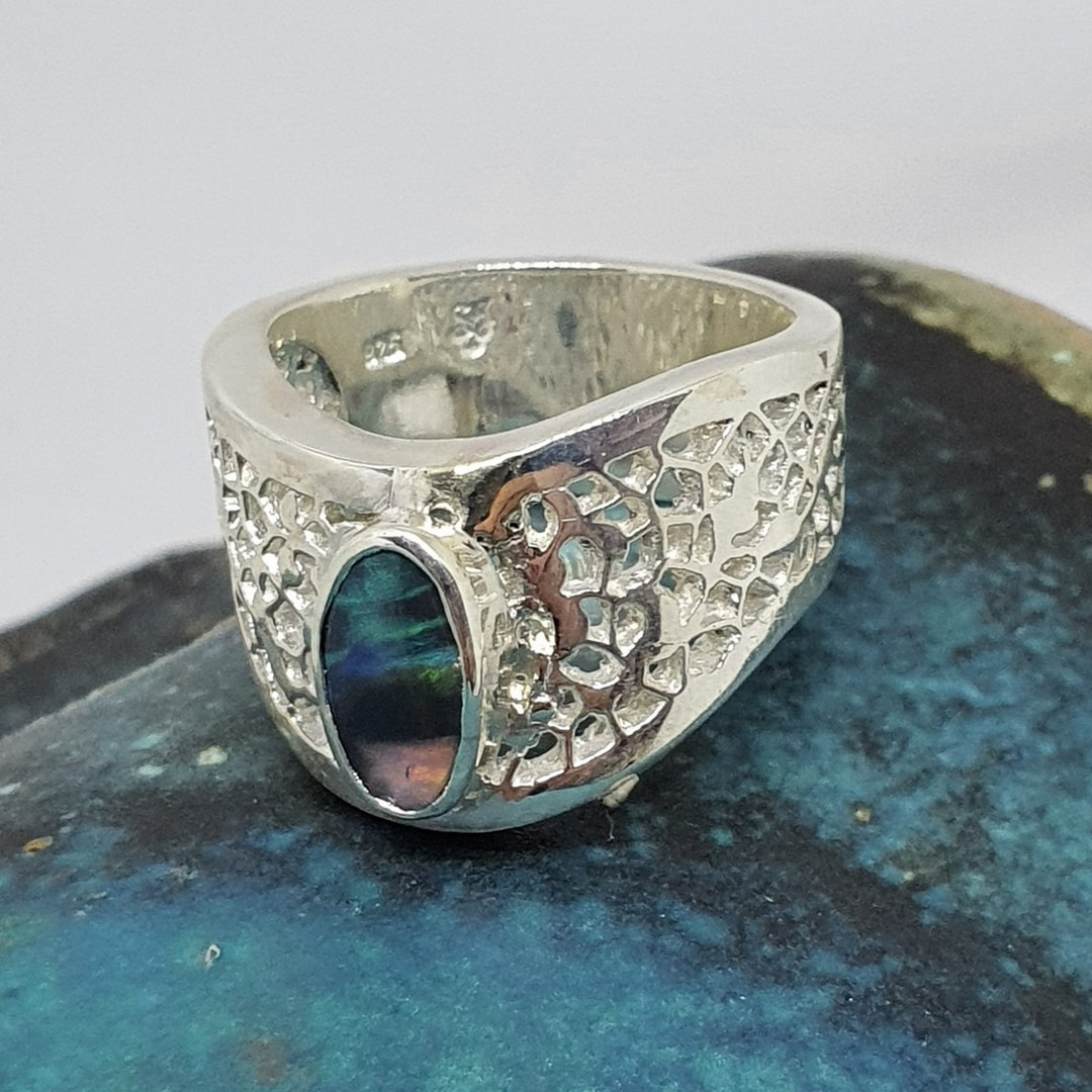 Chunky silver opal ring - made in NZ image 2
