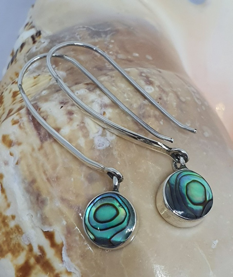 Long hooked sterling silver paua shell earrings image 0