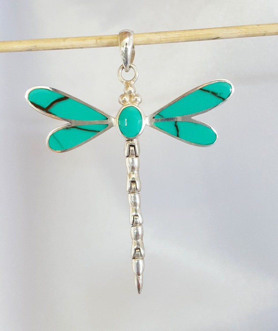 Turquoise coloured dragonfly pendant - sterling silver image 2