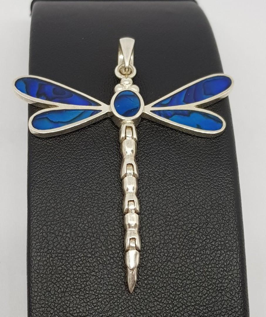 Deep cobalt blue silver dragonfly pendant image 0