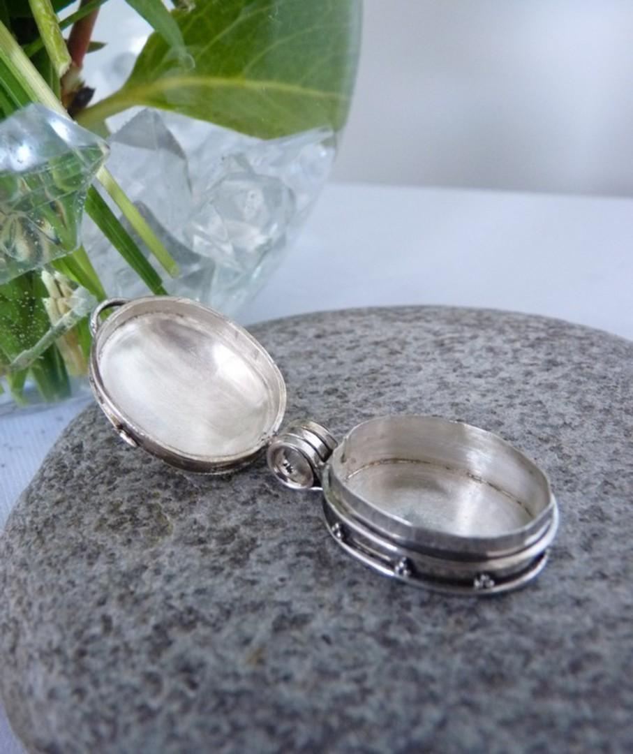 Oval filigree silver prayer or wish box pendant image 2