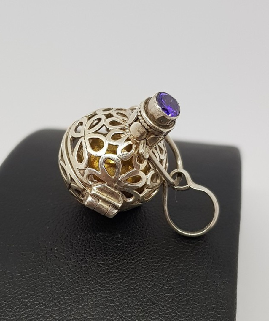 Silver meditation ball pendant with facet cut amethyst image 0