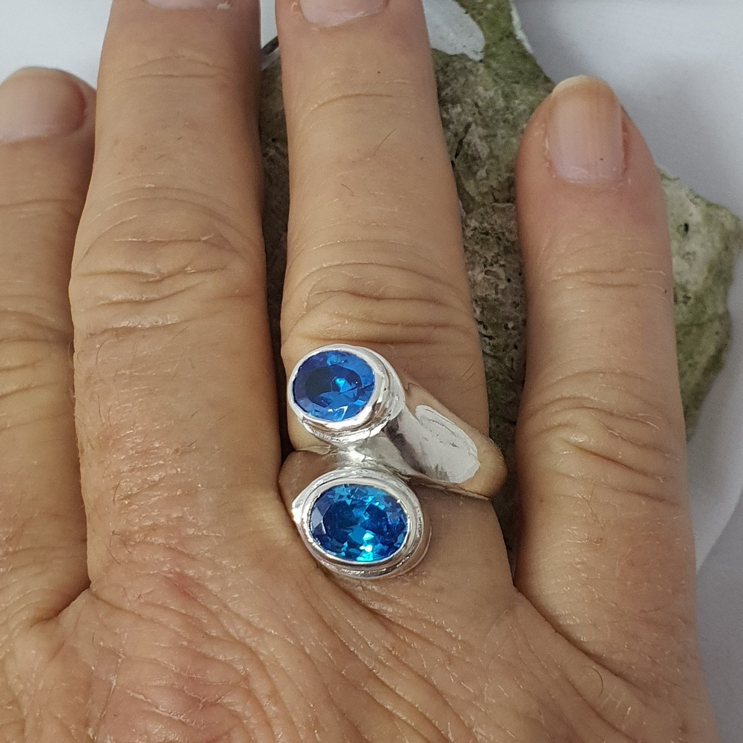 Sterling silver sparkling blue gemstone ring, made in NZ image 3