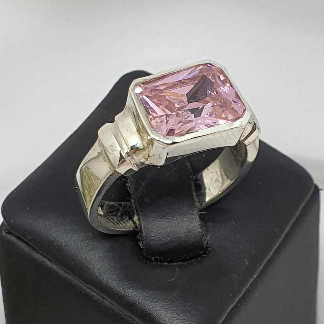 Silver ring with pink sparkling stone image 0