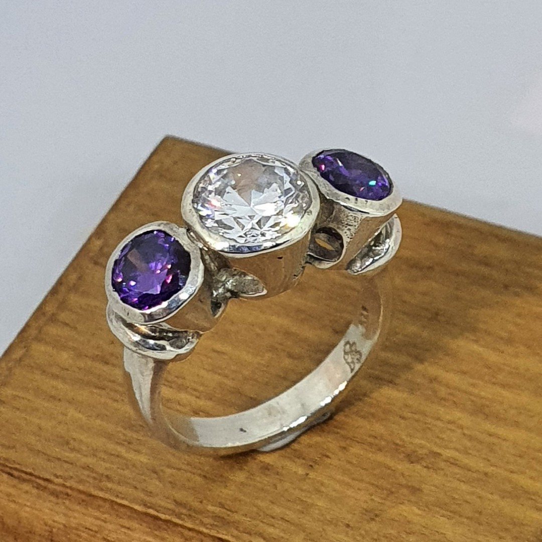 925 silver ring with clear and purple CZ's image 0