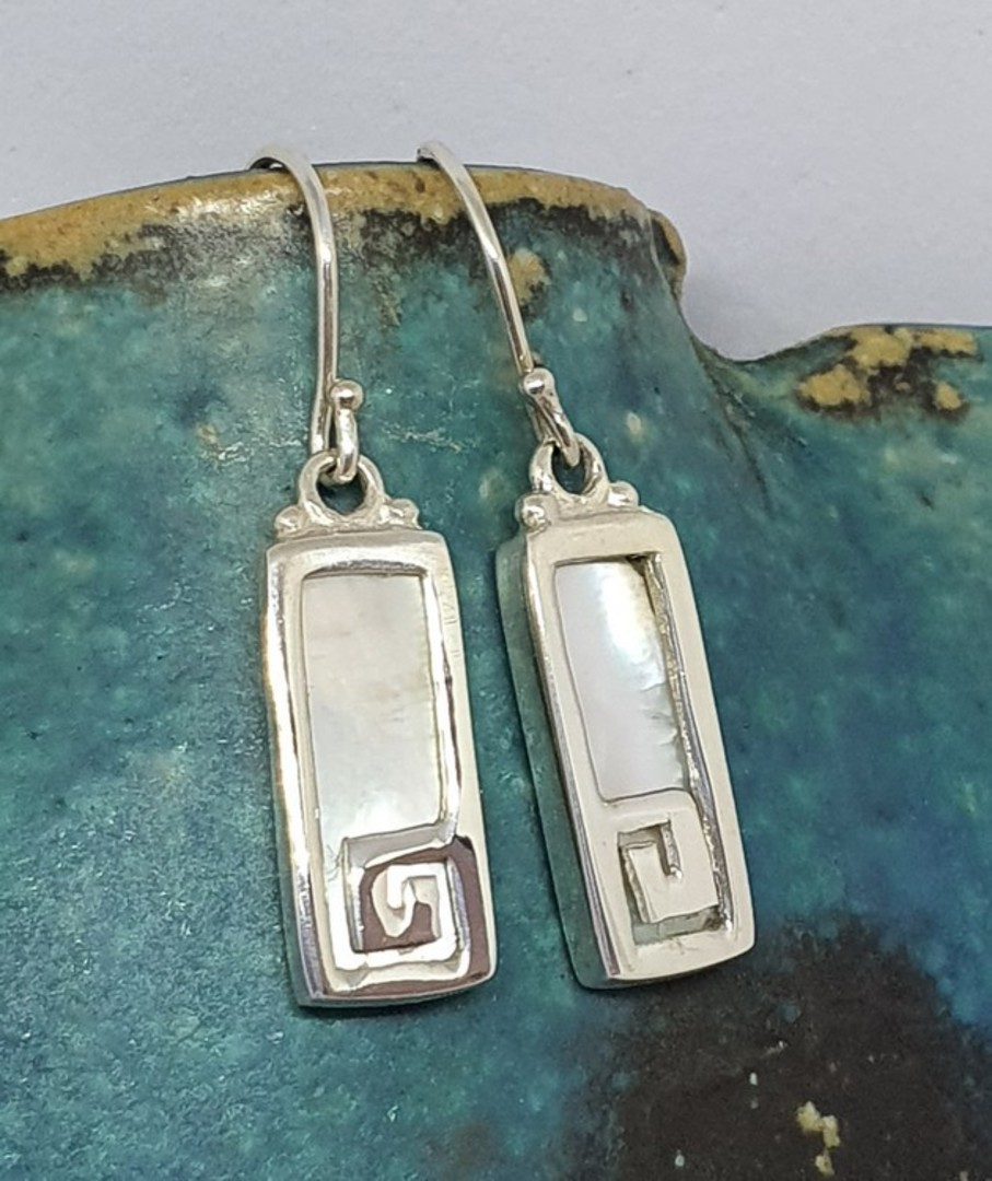 Mother of pearl rectangle earrings with koru detail image 0