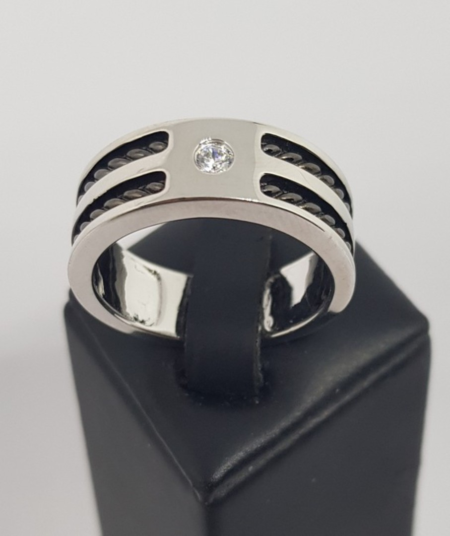 Sterling silver men's ring, wide band, single small cz in top image 0