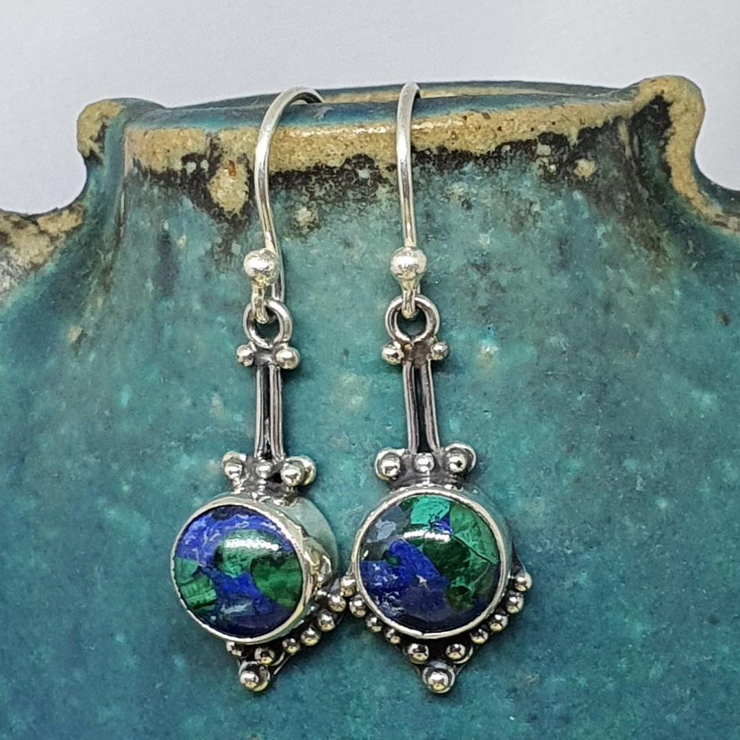 Sterling silver azurite malachite gemstone earrings image 0