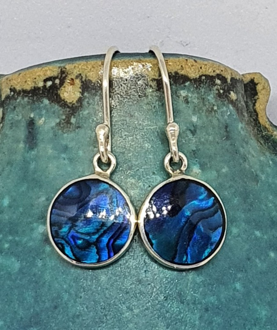 Cobalt blue - dyed paua silver earrings image 0
